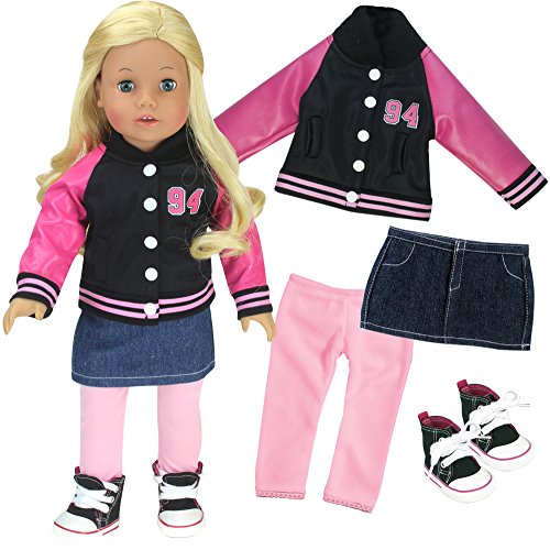 Sophia's 18 Inch Doll 4 Pc. Set, Varsity Jacket/ Coat with Skirt, Leggings and High Tops Sneakers for Dolls - 18 Coat Set Doll Inch