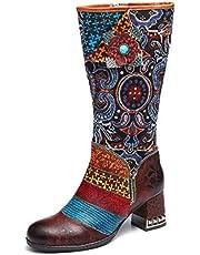 Camfosy Womens Knie Hoge Boot,Dames Winter Lederen Lange Laarzen met Non-Slip Mode Blok Hak Casual Wandelschoenen met Handgemaakte Patroon Zijrits Retro Boheemse Bloem Prachtige 2018 2019