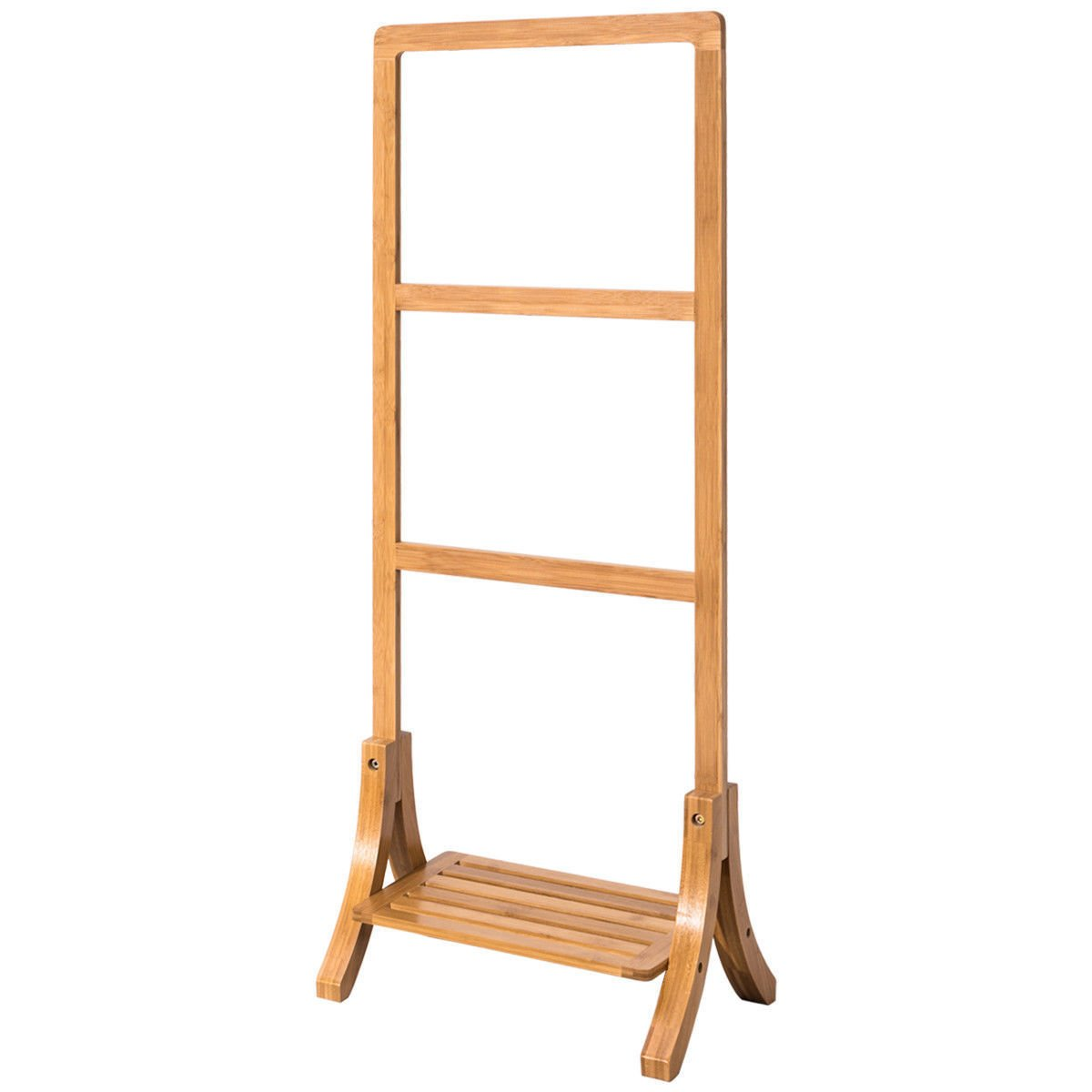 Free Standing Towel Rack Stand Hanger with Bottom Shelf Bathroom Storage Bamboo Natural