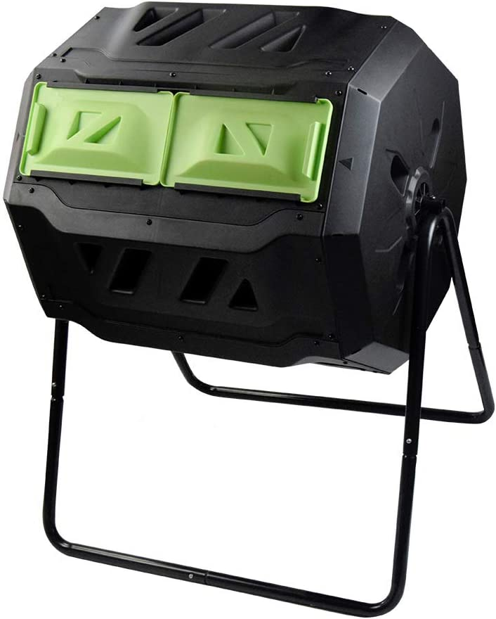 SQUEEZE master Large Compost Tumbler Bin -Outdoor Garden Rotating-Dual Compartment - Better Air Circulation Efficient Compost- BPA Free-Sturdy Steel Frame - 43Gallon (2-21.5Gal)- Green Door