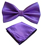 xl bow ties for men - Mens Tuxedo Pre-Tied XL Bow Tie and Pocket Square Set, by Simpowe (Lavender, XL)