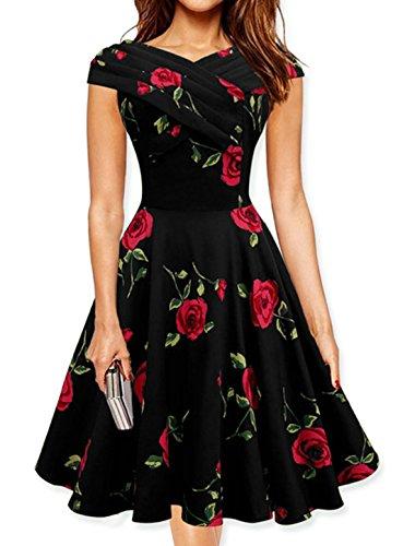 sourcingmap Mujer Cuello En V Superior Plisada Estampado Floral Corte Trapecio Vestido Rojo