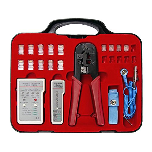 Ethernet Cable Tester Kit with RJ45 RJ11 RJ12 Crimper Tool CAT5e CAT6 Tester Kit with Crimping Tool RJ-45 RJ12 RJ-12 Connectors Grounding Strap and Storage Case Professional Grade by NAC Wire and Cables