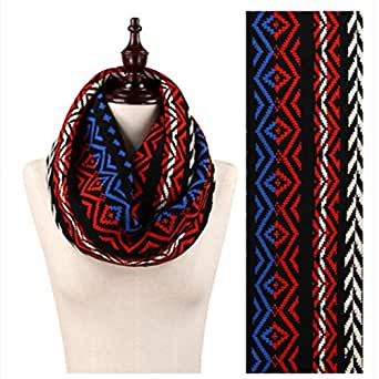 Infinity Scarf for Her - Multiple Colors & Patterns - Top Quality Black & Red & Blue One Size