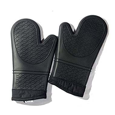 Haicheng Professional Oven Mitts,Double Silicone Oven Mitt Heat Resistant To 480° F,1 Pair With Black