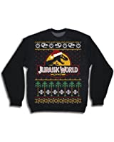 Official Jurassic World Ugly Christmas Sweater CREWNECK, Black
