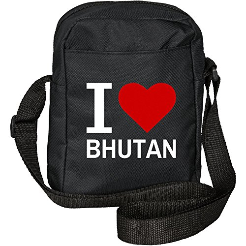 Umhängetasche Classic I Love Bhutan schwarz