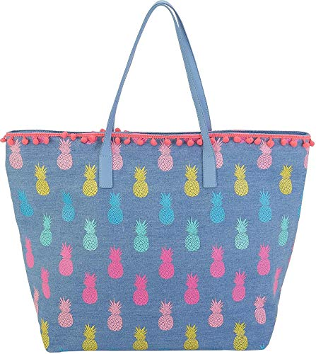Caribbean Joe Blue Pineapple Beach Bag Tote One Size Blue mu