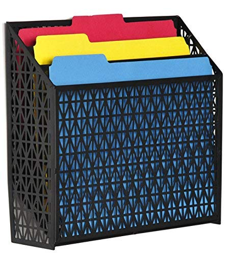 DESIGNA Vertical Wall-Mounted 3-Tier File Folder Organizer, Black Rhombic Metal Mesh Hanging Holder