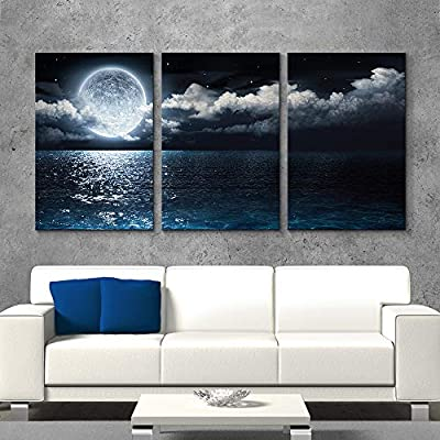 Amazing Work of Art, for Living Room Bedroom Home Artwork Blue Ocean Sea Paintings x 3 Panels, Quality Creation
