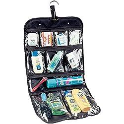 SZTARA Hanging Cosmetics Bag 10 Pockets Travel Zippered Transparent Clear Makeup Toiletry Organiser Packing Storage Kit