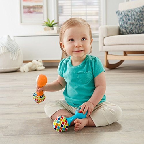 Fisher-Price Rattle 'n Rock Maracas, Blue/Orange [Amazon Exclusive]