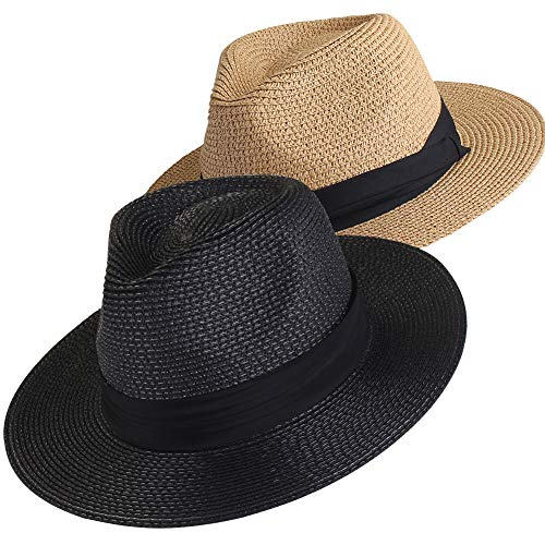 Womens Mens Wide Brim Straw Panama Hat Fedora Summer Beach Sun Hat ()