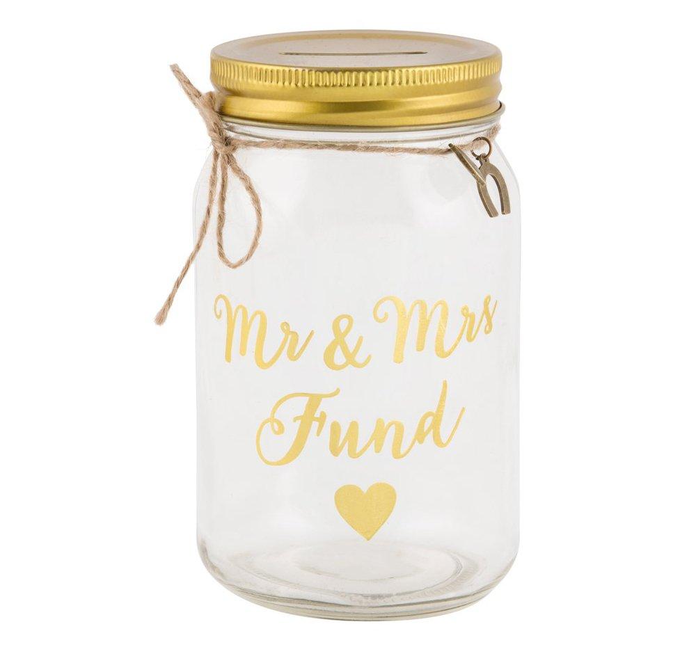 Happy Homewares Gold Mr & Mrs Fund Clear Jar Money Box