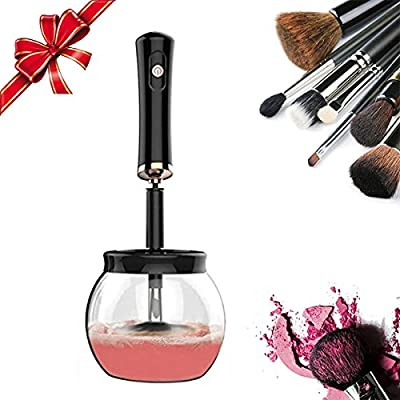 Makeup Brush Cleaner and Dryer, Qirageins Electric Makeup Brush Cleaner Spinner in Seconds Automatic Cleaning Tool Kit for All Size Brushes