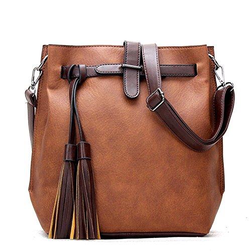 Women Handbag,Women Bag, KINGH Vintage PU Leather Shoulder Bag Tassel Crossbody Bag 084 Brown