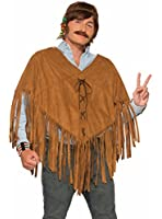 Hippie Faux Suede Poncho Hippie Shawl 74767