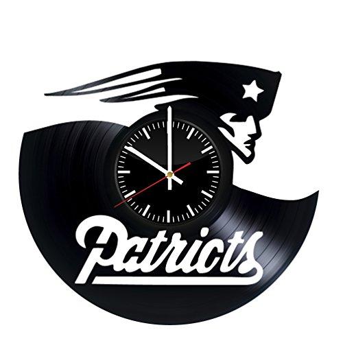 Record England New Patriots (New England Patriots NFL Football Vinyl Clock Record Wall Clock Handmade Fan Art Decor Unique Decorative Vinyl Clock)