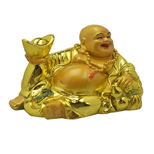 - Feng Shui Money Lucky Laughing Buddha Statue Holding Ingot AA174