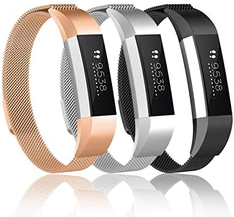 Valband Metal Loop Bands CompatibleFitbit Alta/Fitbit Alta HR Stainless Steel Mesh Megnet Lock Replacement Wristbands for Women Men (Small)