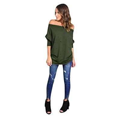 ca8dca695bc2ff WM & MW Off Shoulder Shirt, Womens Hole Ripped Long Sleeve Blouse Loose  Casual T