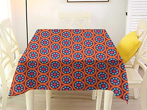 L'sWOW Banquet Square Tablecloth Geometric Blooms Flourishing Spring Flowers Botanical in Abstract Circles Ethnic Ornamental Multicolor Waterproof 54 x 54 Inch
