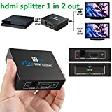 Hdmi Spliter, fitTek 1X2 Hdmi Splitter Hdmi Hub 2 Ports Hdmi Splitter Cable Hdmi Splitter 1 in 2 out Hdmi Audio Splitter-Updated Version