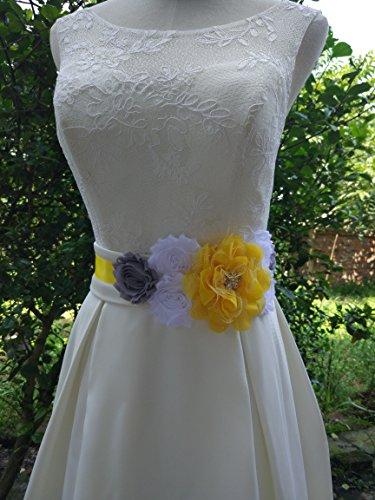 Faja de maternidad, de Lemandy, con flores, hecho a mano, de verano, de satén, accesorios para bodas Amarillo amarillo Talla única: Amazon.es: Ropa y ...
