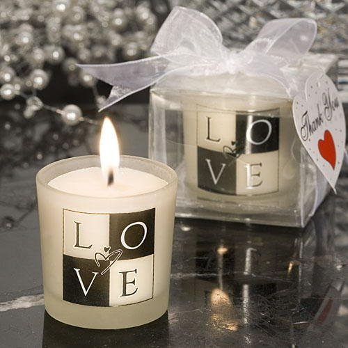 Fashioncraft LOVE Glass Votive Candle Holder Frosted, With Tealight Candle, Black and White Design, for Wedding Favors, Baby Shower, Centerpieces & Home Decor - Set of 96