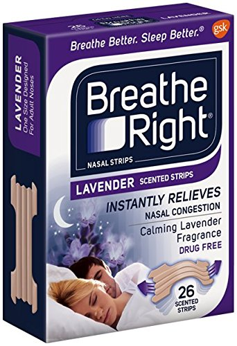 (104 Strips) NEW Breathe Right Nasal Strips : LAVENDER SCENTED Strips - Calming Lavender