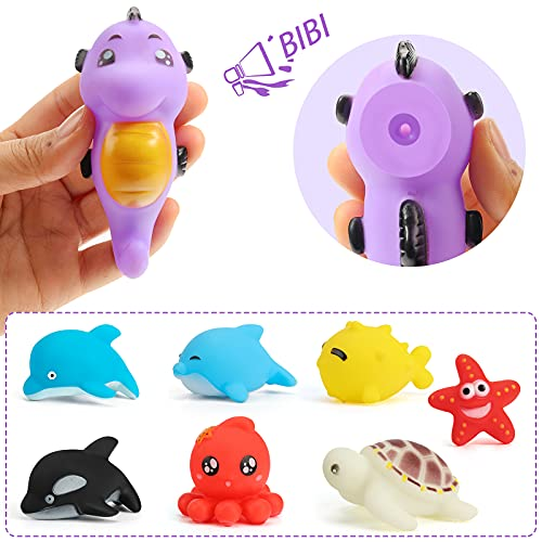 Shindel 16PCS Bath Toys, Kids Floating Animal Toys Pool Toy Set Fishing Net Clockwork Swimming Toys for Kids Toddler Baby, Summer Party Beach Games and Birthday Gifts for Boys and Girls