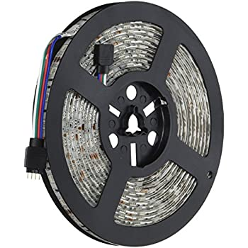 HitLights High Density Weatherproof LED Light Strip - RGB Multicolor SMD 5050 - 150 LEDs, 16.4 Ft Roll - 12V DC - 218 Lumens / 3.4 Watts per foot - IP-65 - Adhesive Backed for Easy Installation - Color Changing LED Tape Light