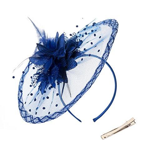 - DancMolly Fascinator Clip for Women Feather Derby Hats Cocktail Tea Net Headband Mesh Party Veil (Blue 3)