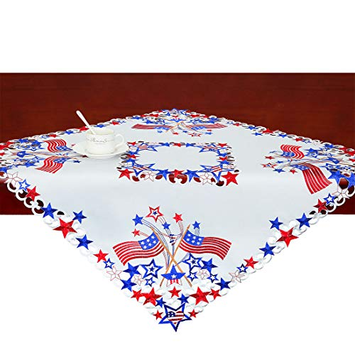 (Simhomsen Small Embroidered July 4th Patriotic Square 33-Inches Tablecloth, Toppers, Covers for End Table,Coffee Table and Nightstand, for American Independence Day, Memorial Day)