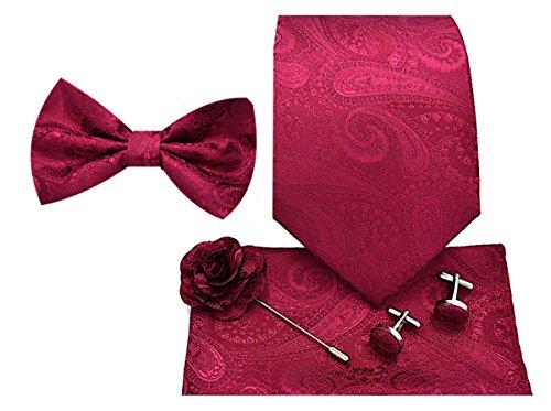 5pc Necktie Gift Box-Paisley Burgundy ()