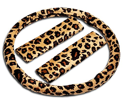 (Zone Tech Animal Print Car Decoration Steering Wheel and Shoulder Pad Shift Plush Cover – Auto Premium Quality Comfortable Steering Animal Print Wheel Cover and Shoulder Pad Cover - Cheetah)