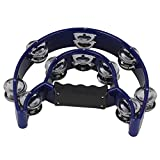 Yibuy 21 x 21 cm Blue 40 Jingles Double Row Music Tambourine Hand Percussion for KTV Party