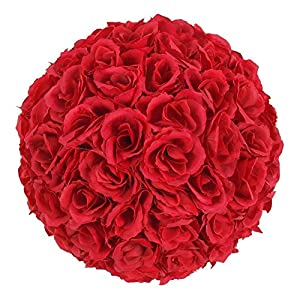 9.84inch Artificial Rose Satin Flower Ball for Home Wall Wedding Party Ceremony Decoration ,Red By Ben Collection 7