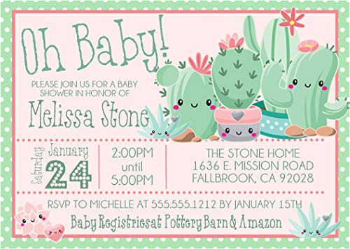 Cactus Succulent Baby Shower Invitations with Envelopes, Succulent Baby Shower Invites