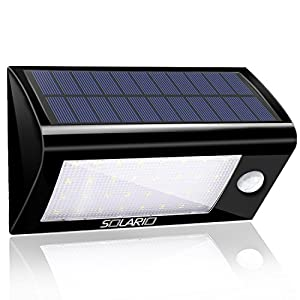 Solar Powered Security Floodlights - Motion Activated Lights- Wireless Outdoor Light- 32 Ultra Bright LEDs- Peel and Stick- Best for Patio, Garden, Path, Pool, Yard, Deck (Black)