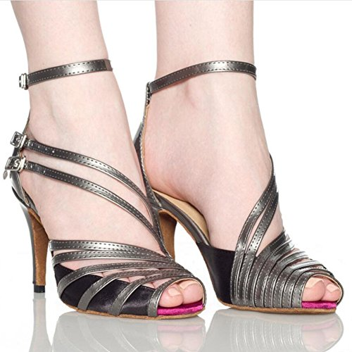 XUE Women's Latin Shoes/Salsa Shoes Ballroom Shoes Sandal Heel Dance Shoes Stilettos Heel Party & Evening Black, Gray, Skin Tone A