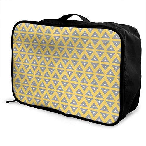 (Geometric Luggage trolley bag Horizontal Lines with Chevron Triangles Nostalgic Design Classical Pattern Waterproof Fashion Lightweight Yellow Grey Cream)