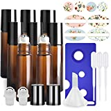 8 Pack, HwaShin 10 ml Amber Glass Roll on Bottles, Essential Oil Roller Bottles with Stainless Steel Roller Balls(1 Opener, 1 Funnel, 3 Droppers,2 Extra Roller Balls & 12 Pieces Labels Included)