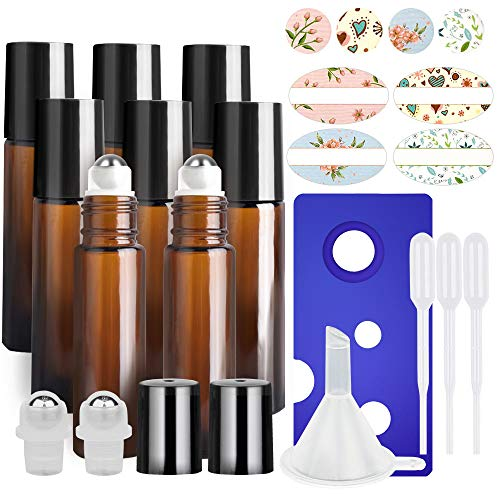 - 8 Pack, HwaShin 10 ml Amber Glass Roll on Bottles, Essential Oil Roller Bottles with Stainless Steel Roller Balls(1 Opener, 1 Funnel, 3 Droppers,2 Extra Roller Balls & 12 Pieces Labels Included)