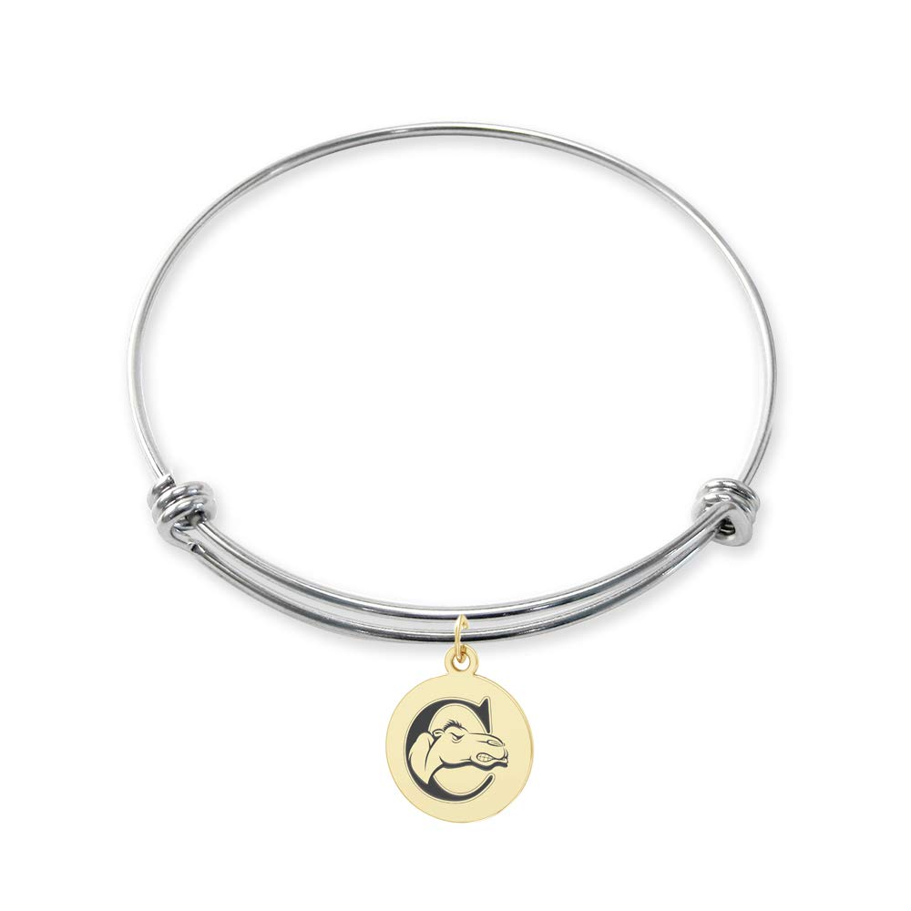 College Jewelry Campbell Fighting Camels Stainless Steel Adjustable Bangle Bracelet with Yellow Gold Plated Round Charm