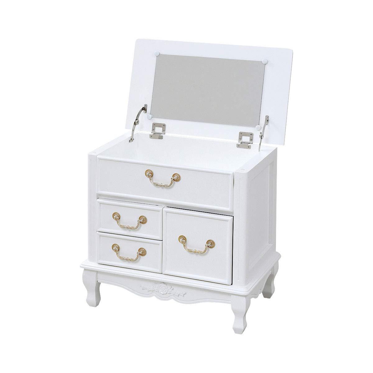 ぼん家具 可愛い ミニ ドレッサー 幅60 高さ58 猫脚 デザイン 完成品 (脚のみ組立) 木製 アンティーク調 B07T48R7K1 ホワイト