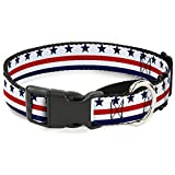 Buckle-Down Americana Stars & Stripes7 White/Blue/Red Martingale Dog Collar, 1.5