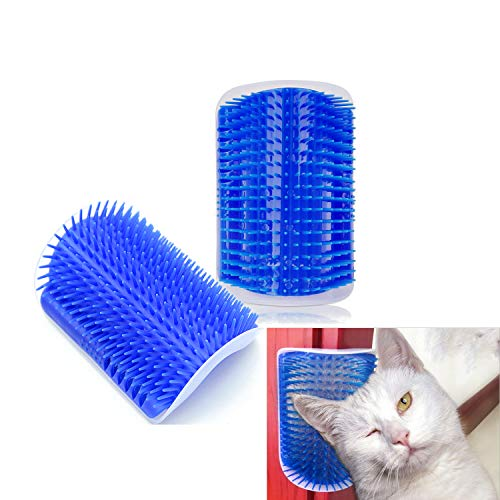 - Hub's Gadget 2 Pack Cat Self Groomer, Wall Corner Massage Comb Grooming Brush with Catnip Pouch, Blue
