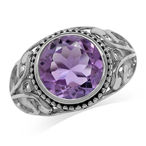 4.47ct. Natural Amethyst 925 Sterling Silver Filigree Swirl Ring Size 9 ()