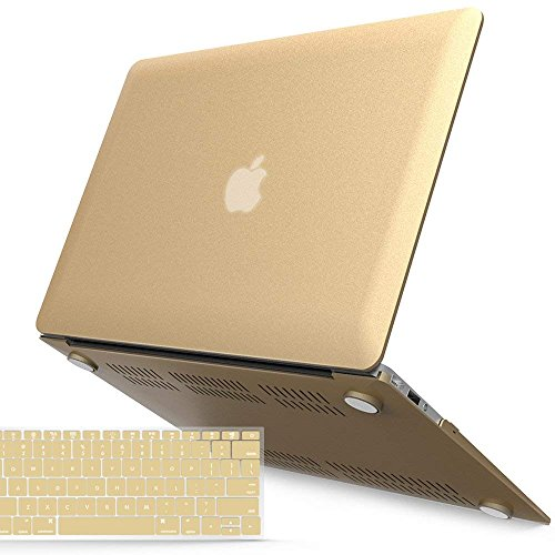 iBenzer MacBook Air 13 Inch Case, Soft Touch Hard Case Shell Cover with Keyboard Cover for Apple MacBook Air 13 A1369 1466 NO Touch ID, Gold MMA13BGD+1A